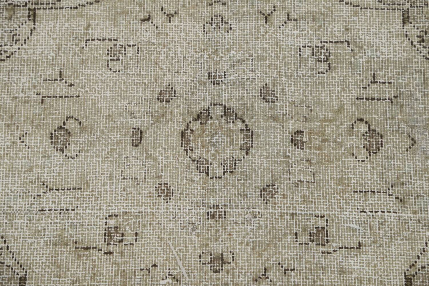 Muted Distressed Floral Tabriz Persian Area Rug 10x13 image 13