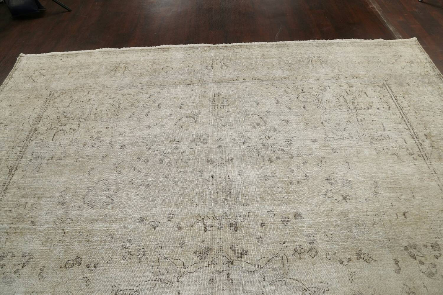 Muted Distressed Floral Tabriz Persian Area Rug 10x13 image 16