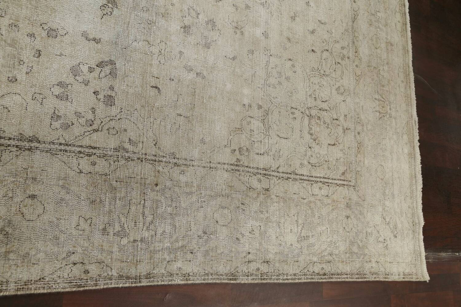 Muted Distressed Floral Tabriz Persian Area Rug 10x13 image 17