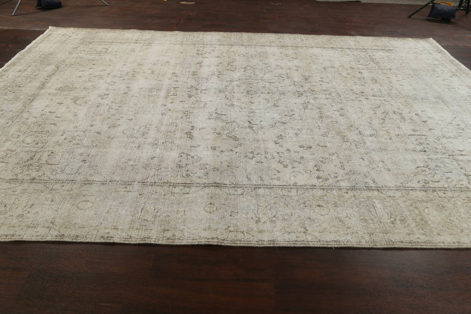 Muted Distressed Floral Tabriz Persian Area Rug 10x13 image 19