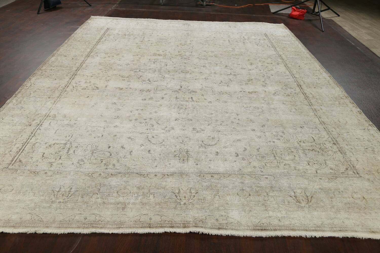 Muted Distressed Floral Tabriz Persian Area Rug 10x13 image 20