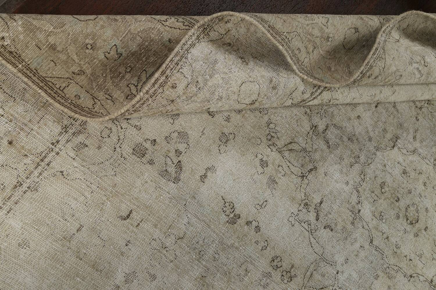 Muted Distressed Floral Tabriz Persian Area Rug 10x13 image 22