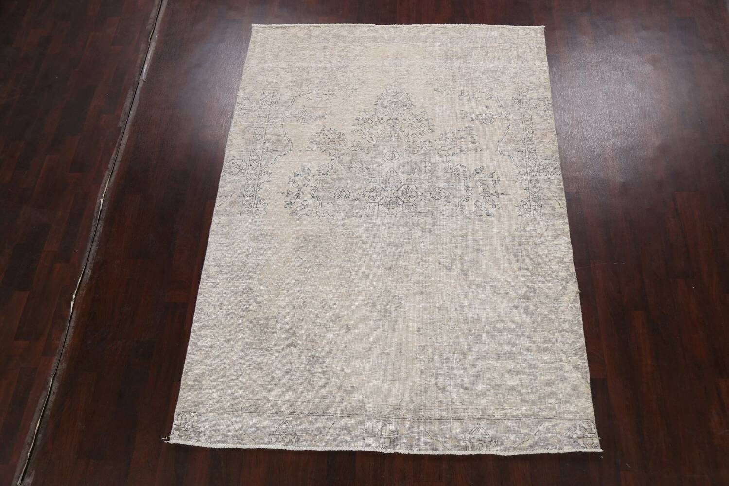Muted Distressed Floral Tabriz Persian Area Rug 6x8 image 2