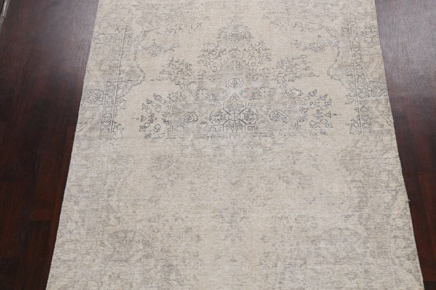 Muted Distressed Floral Tabriz Persian Area Rug 6x8 image 3
