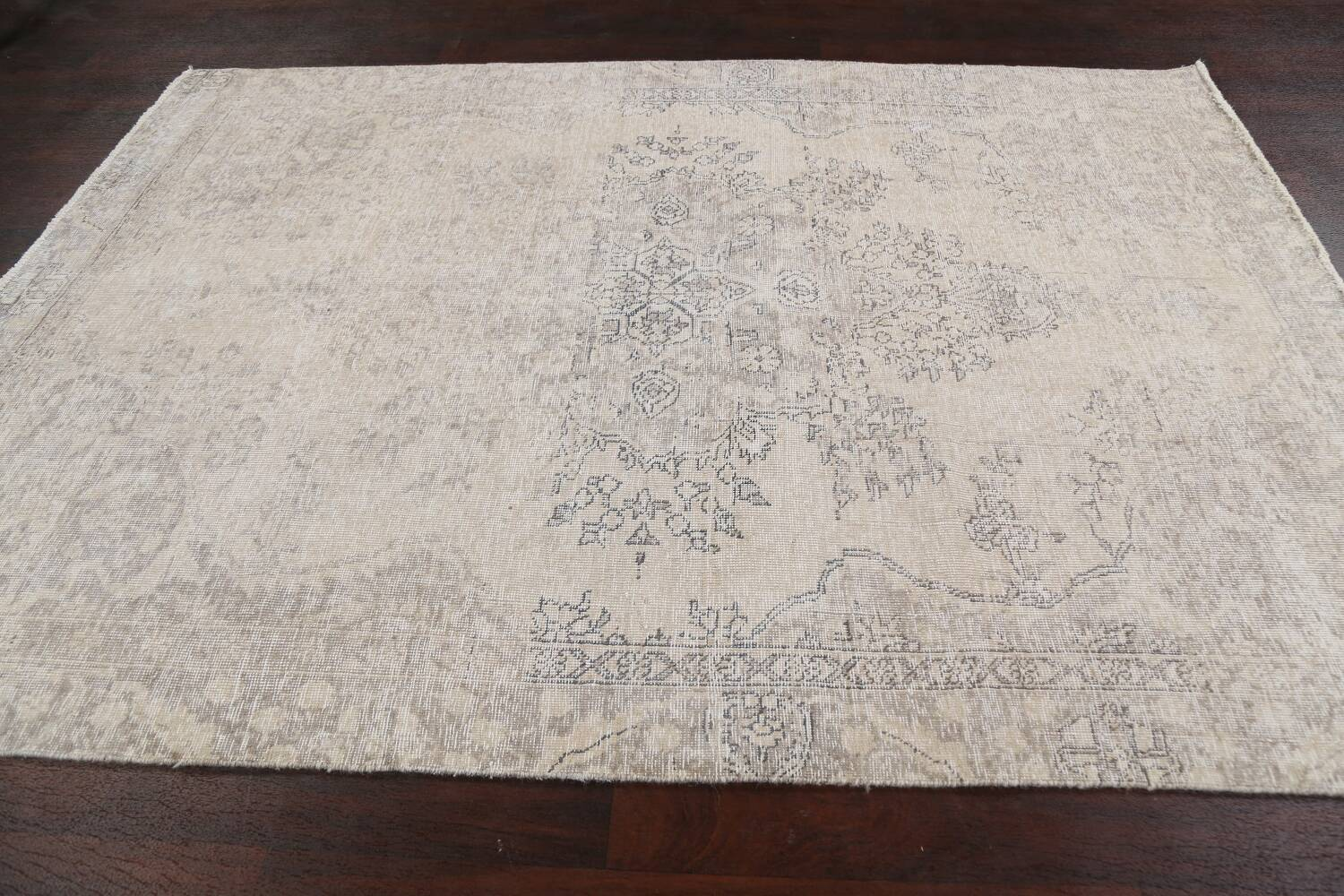 Muted Distressed Floral Tabriz Persian Area Rug 6x8 image 16