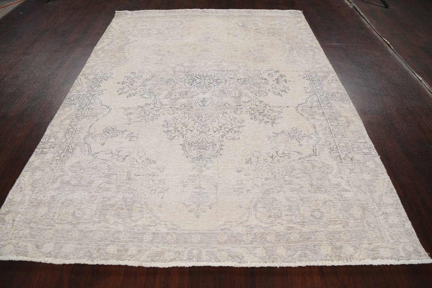 Muted Distressed Floral Tabriz Persian Area Rug 6x8 image 17
