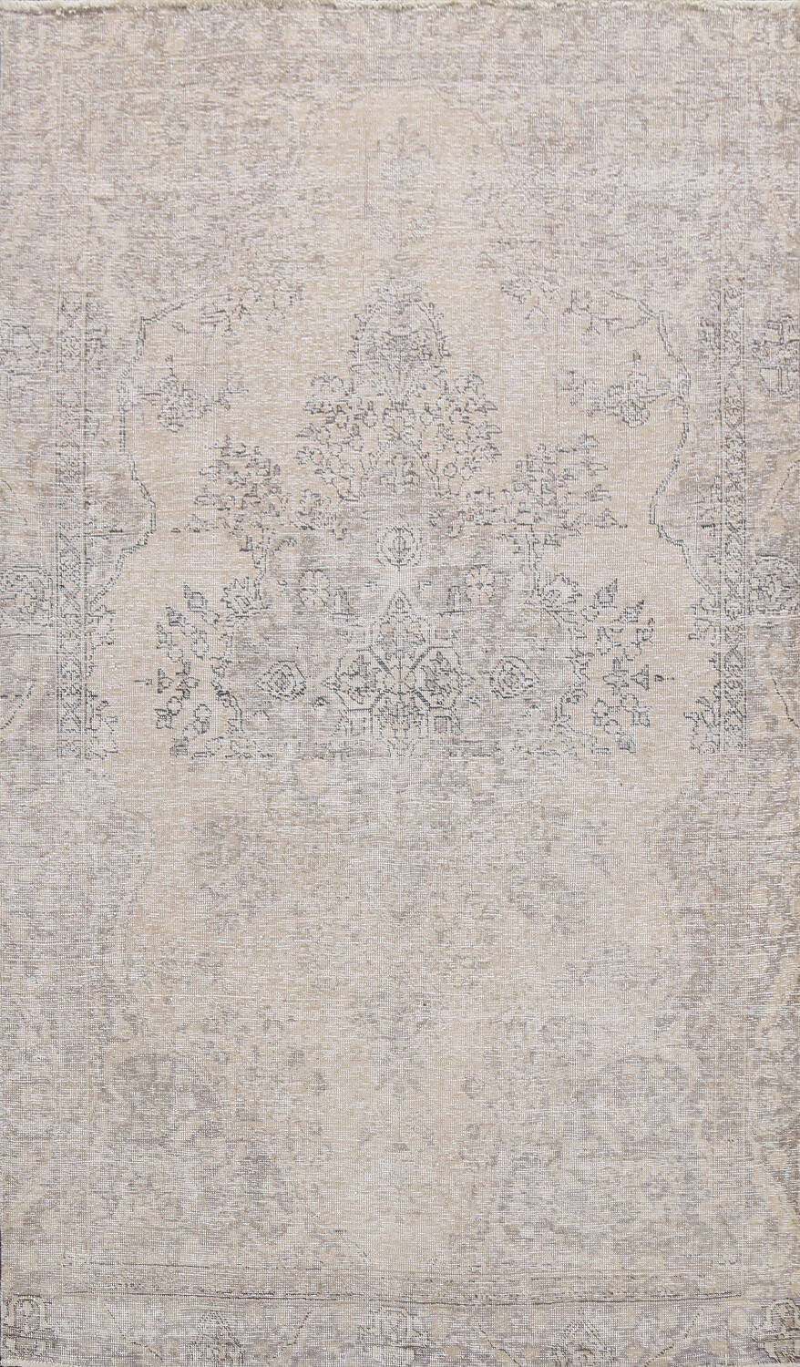 Muted Distressed Floral Tabriz Persian Area Rug 6x8 image 1