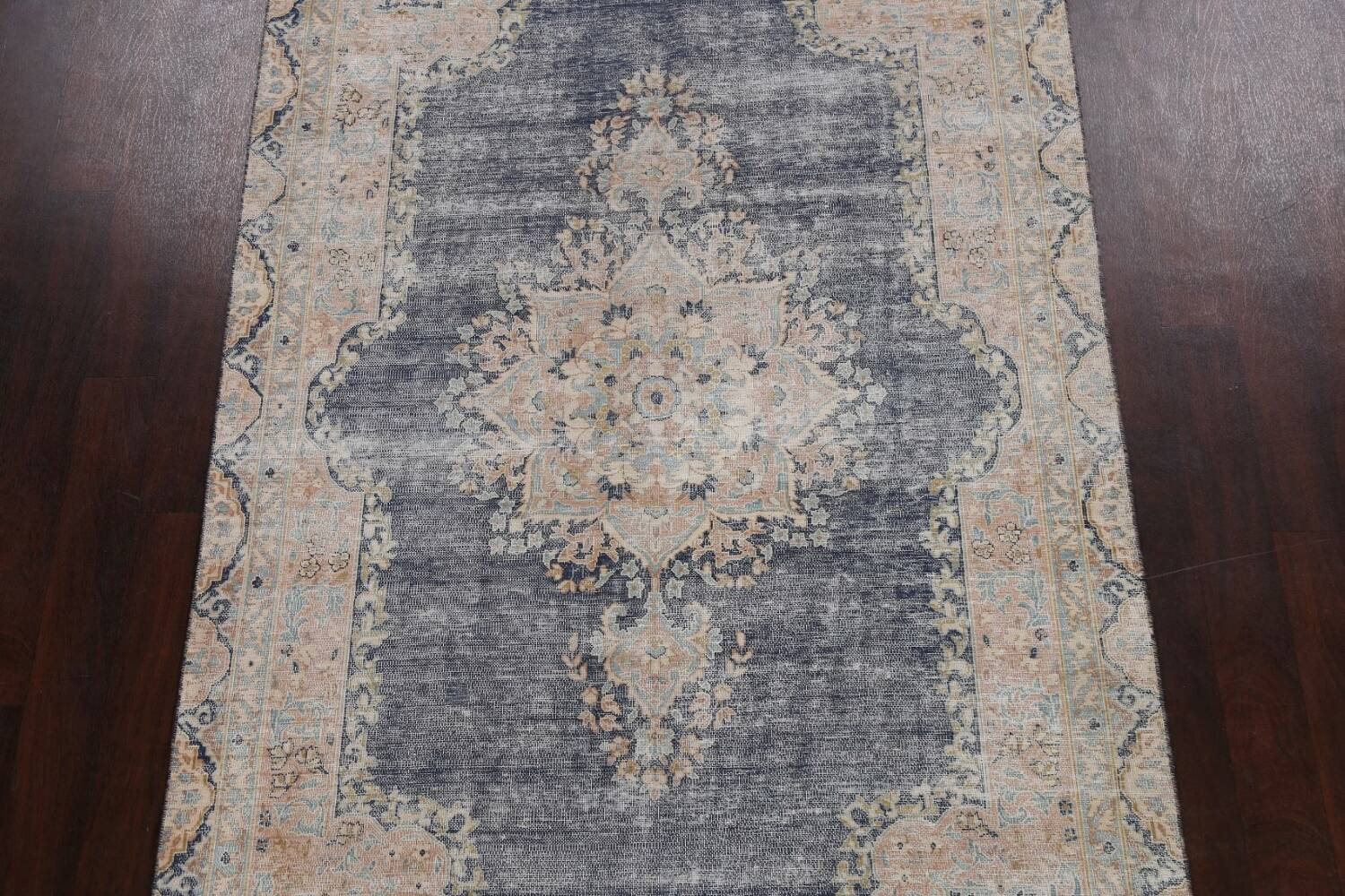 Antique Distressed Over-dyed Kerman Persian Area Rug 5x8 image 3