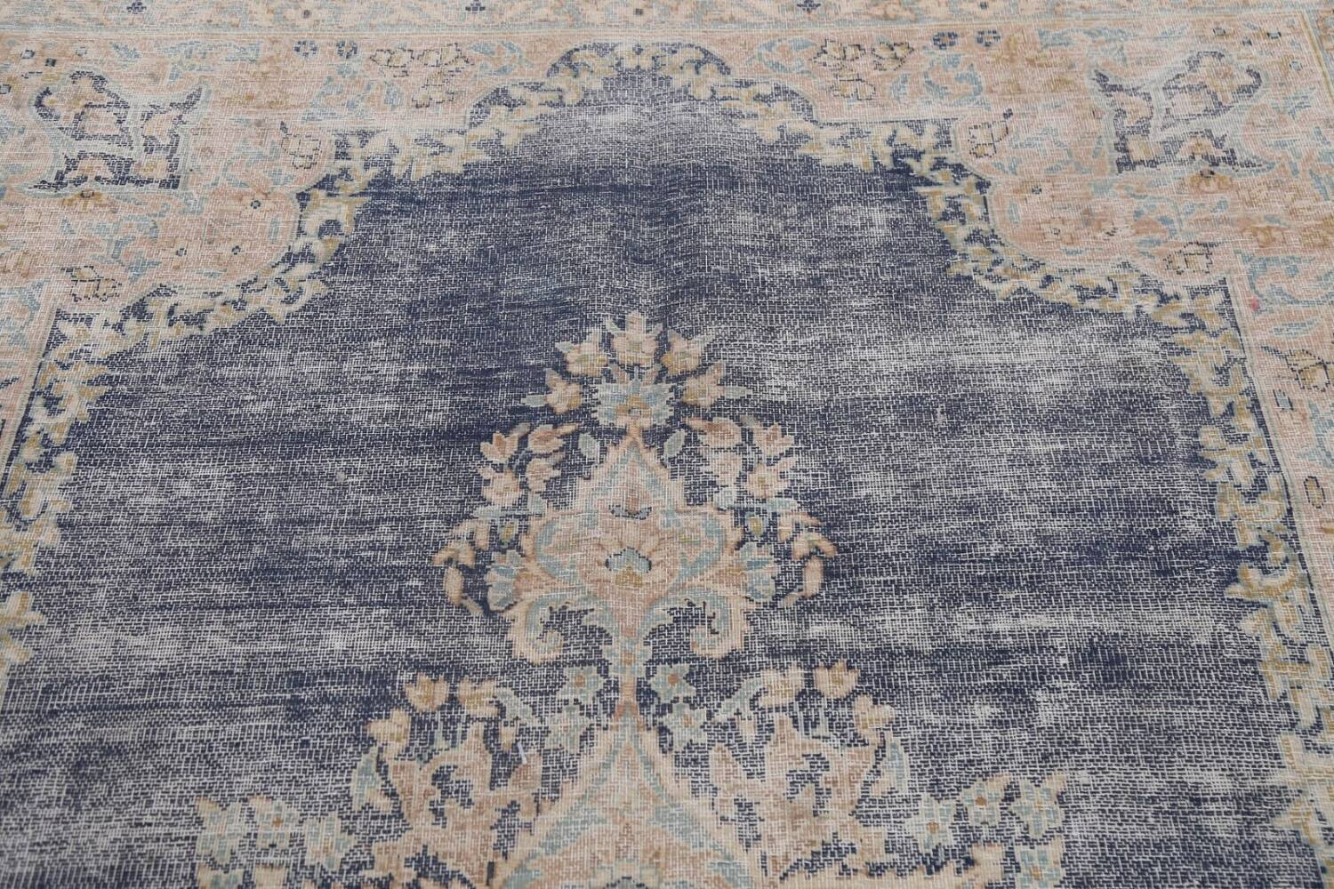 Antique Distressed Over-dyed Kerman Persian Area Rug 5x8 image 11