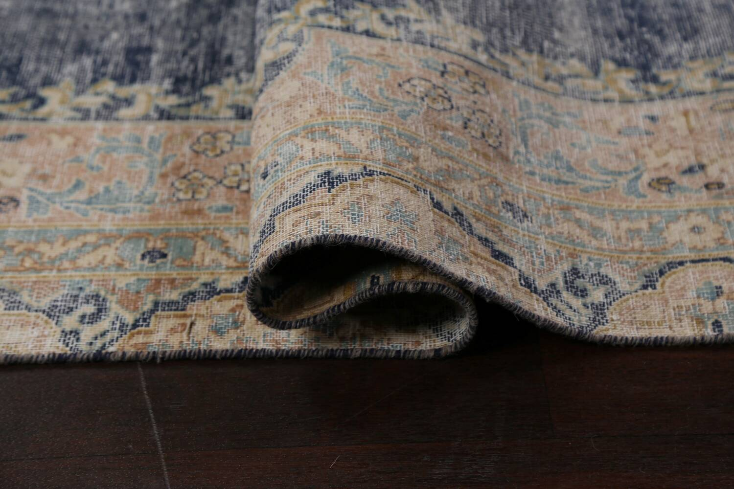 Antique Distressed Over-dyed Kerman Persian Area Rug 5x8 image 12