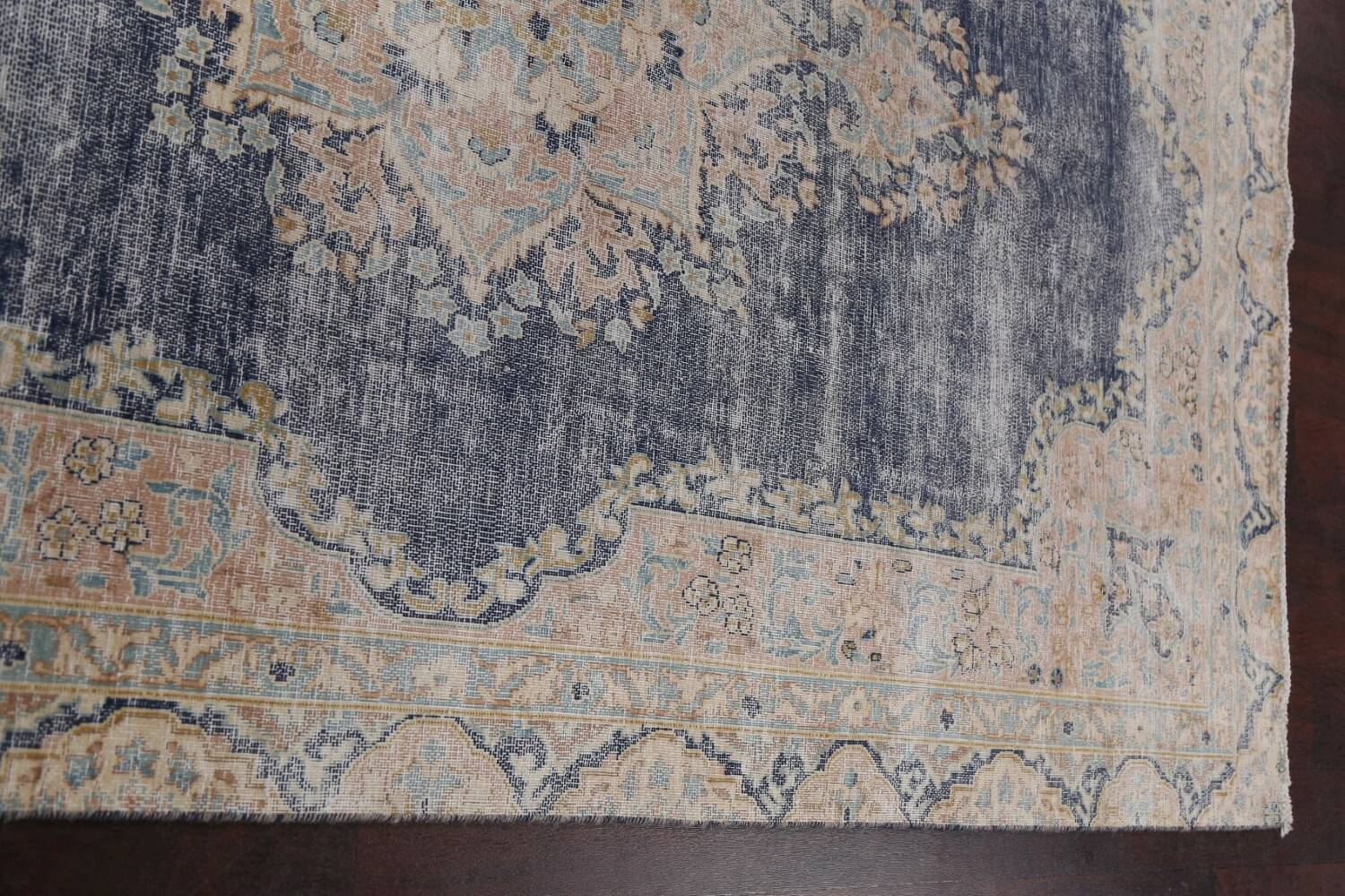 Antique Distressed Over-dyed Kerman Persian Area Rug 5x8 image 13