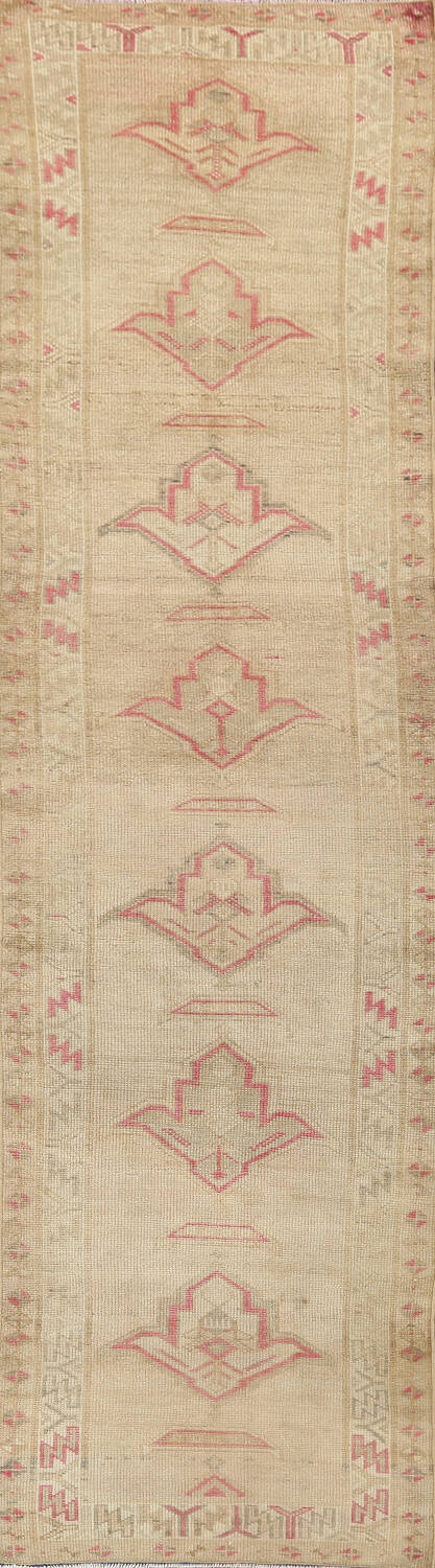 Antique Muted Earth-tone Oushak Oriental Runner Rug 3x12 image 1