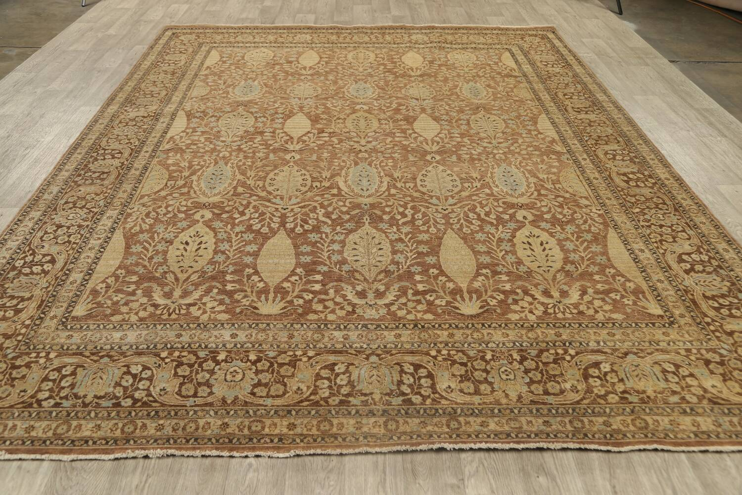 100% Vegetable Dye Floral Kashan Oriental Area Rug 9x12 image 17
