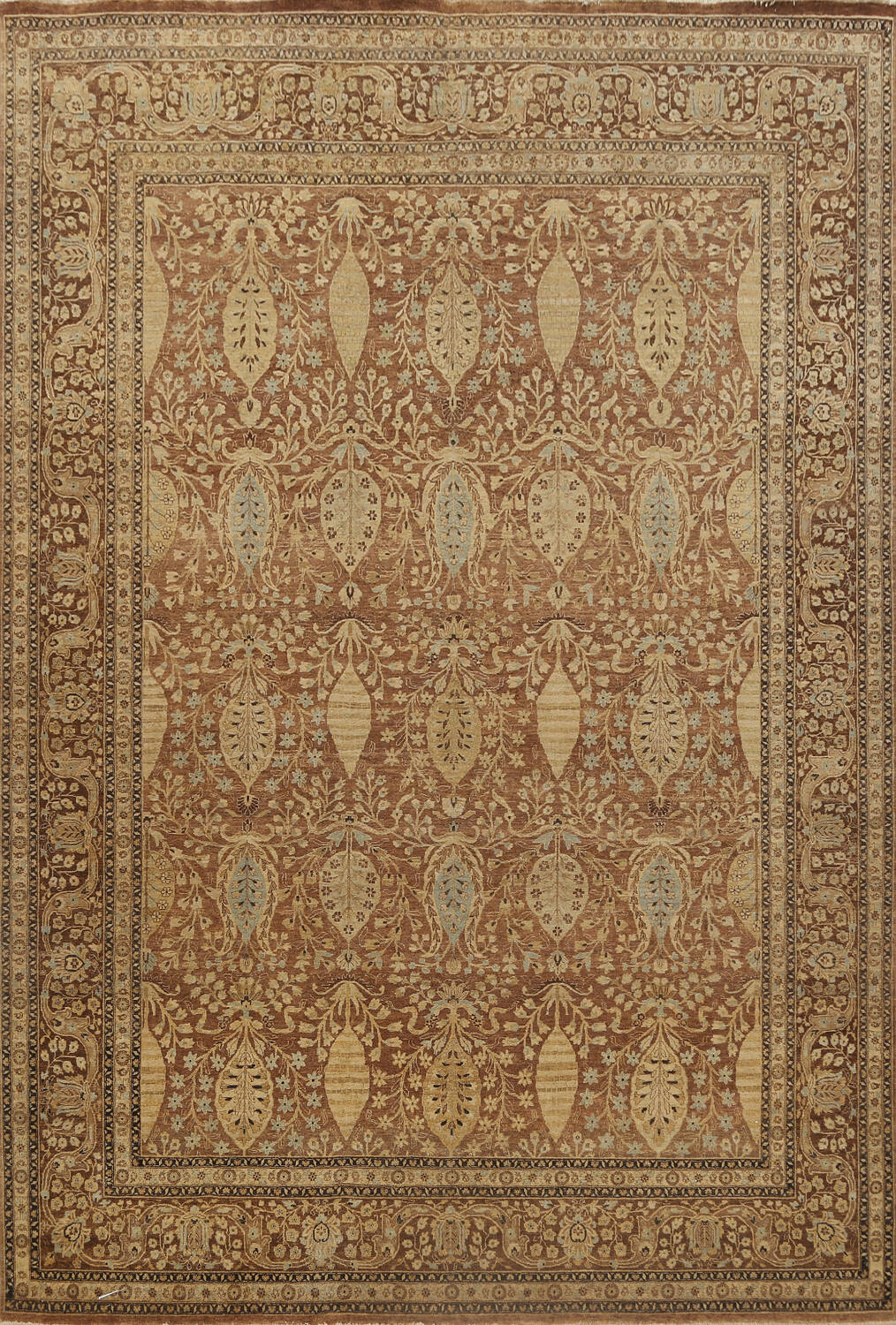100% Vegetable Dye Floral Kashan Oriental Area Rug 9x12 image 1