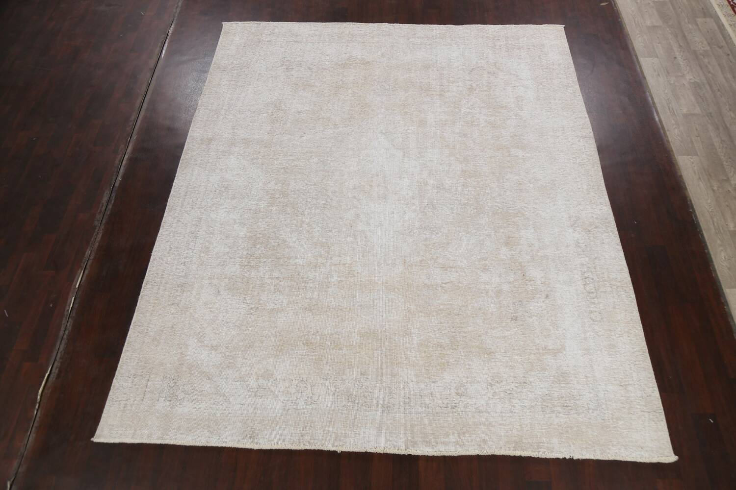 Muted Distressed Tabriz Persian Area Rug 9x11 image 2