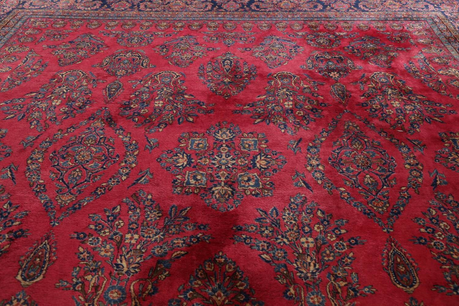 Antique 100% Vegetable Dye Kashan Persian Area Rug 12x20 image 12