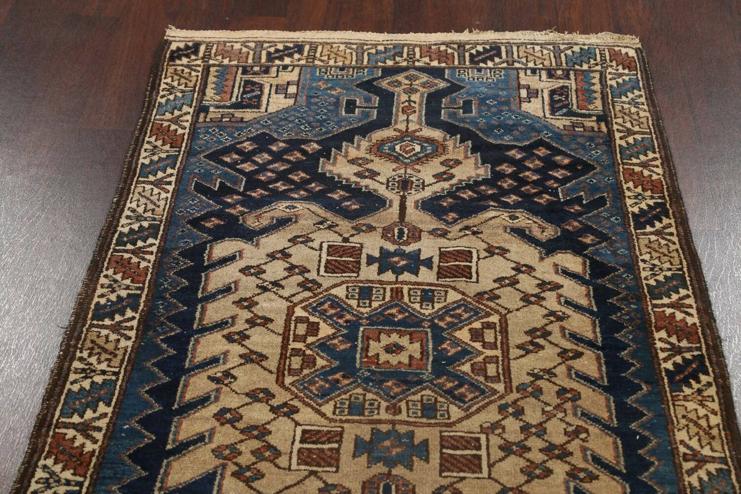 Pre-1900 Antique Vegetable Dye Malayer Persian Runner Rug 4x13 image 14