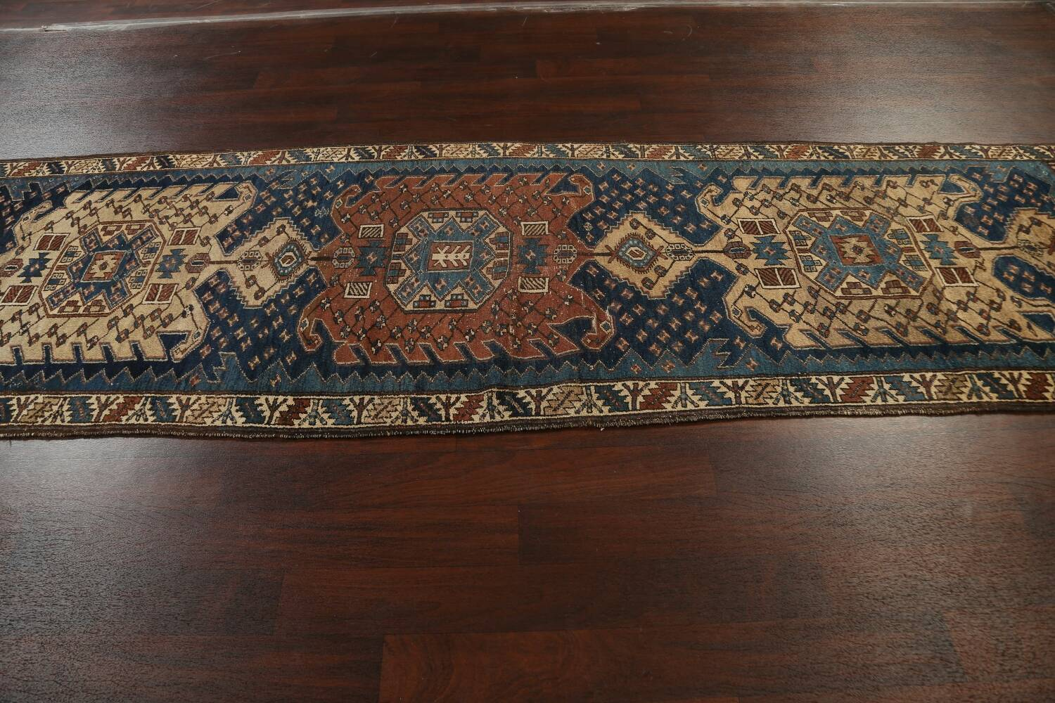 Pre-1900 Antique Vegetable Dye Malayer Persian Runner Rug 4x13 image 17