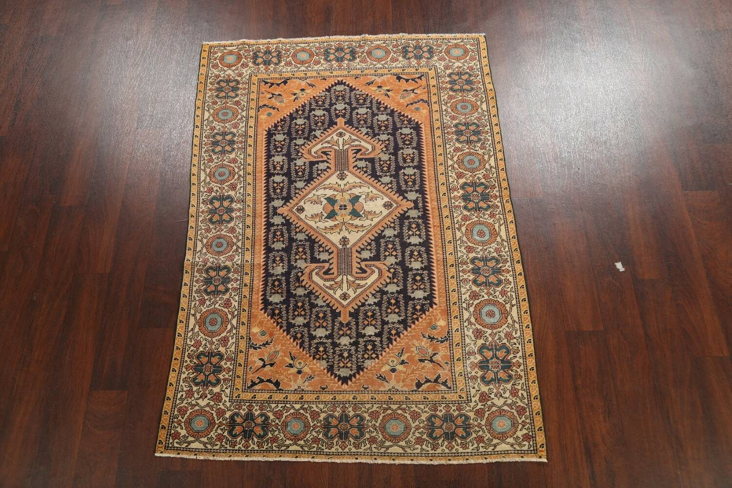 Antique 100% Vegetable Dye Sultanabad Persian Area Rug 4x5 image 2