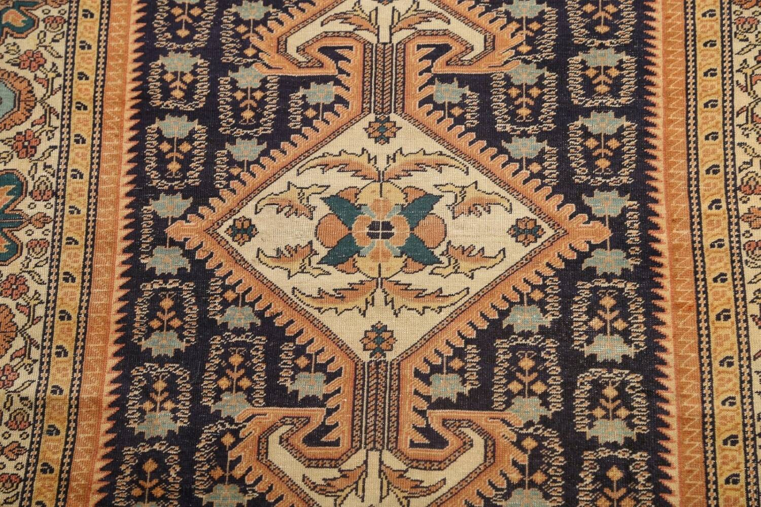 Antique 100% Vegetable Dye Sultanabad Persian Area Rug 4x5 image 4
