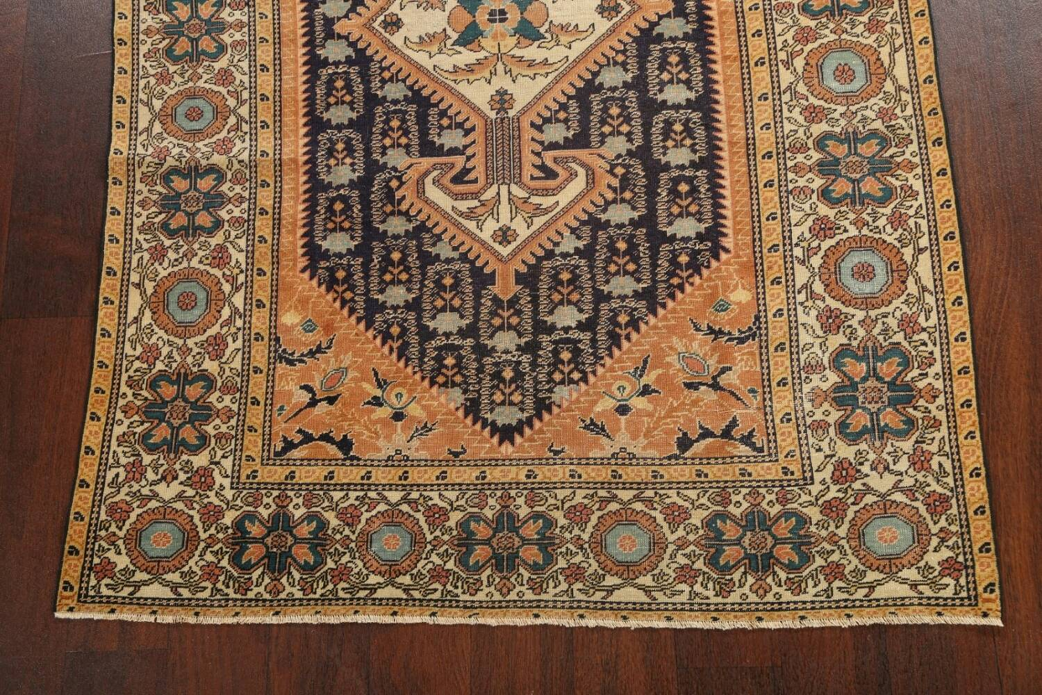 Antique 100% Vegetable Dye Sultanabad Persian Area Rug 4x5 image 8