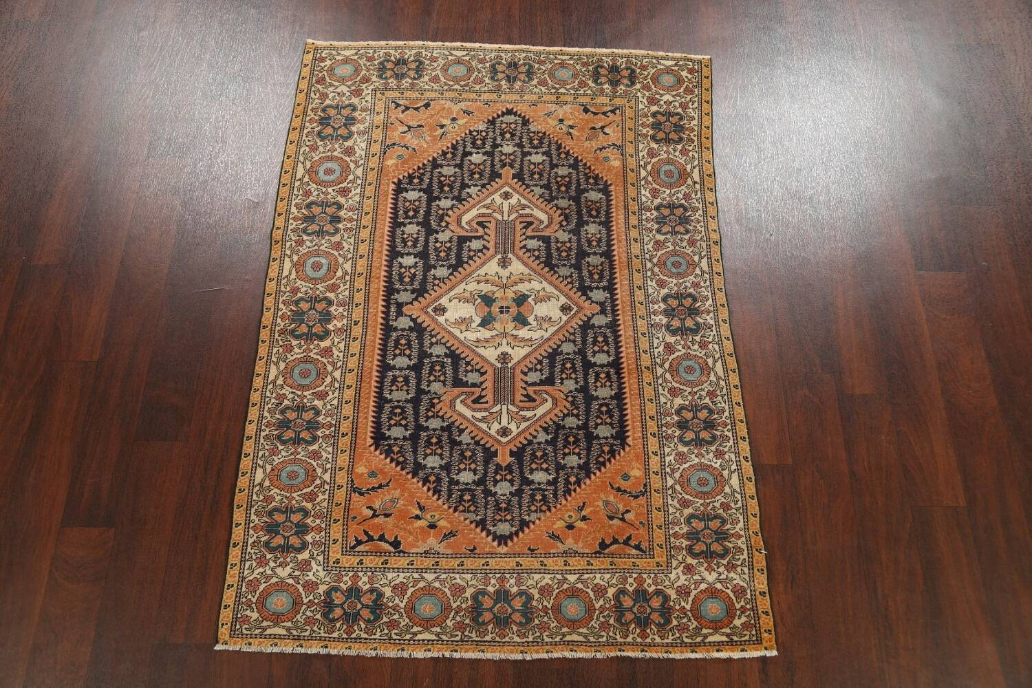 Antique 100% Vegetable Dye Sultanabad Persian Area Rug 4x5 image 14