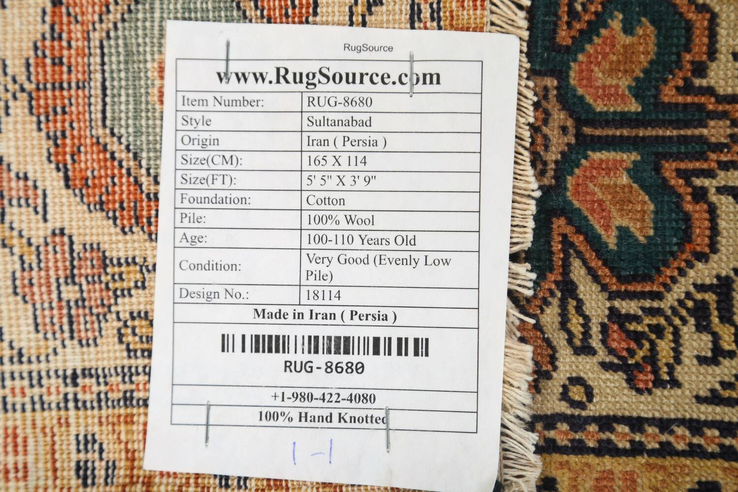 Antique 100% Vegetable Dye Sultanabad Persian Area Rug 4x5 image 19
