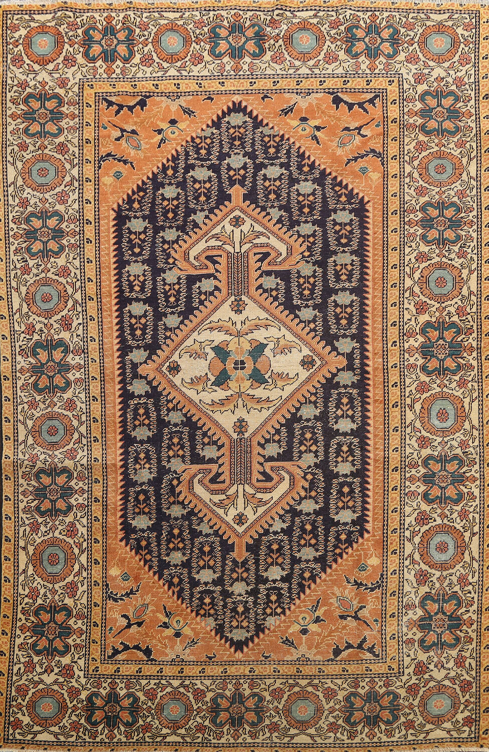 Antique 100% Vegetable Dye Sultanabad Persian Area Rug 4x5 image 1