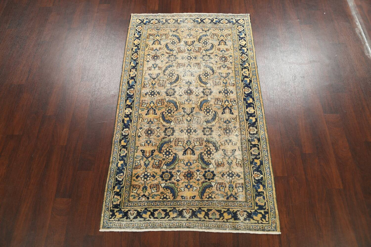 Pre-1900 Antique Vegetable Dye Sultanabad Persian Area Rug 4x7 image 2
