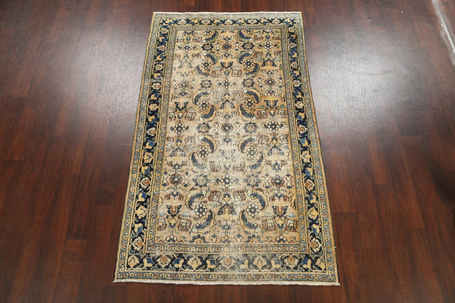 Pre-1900 Antique Vegetable Dye Sultanabad Persian Area Rug 4x7 image 17