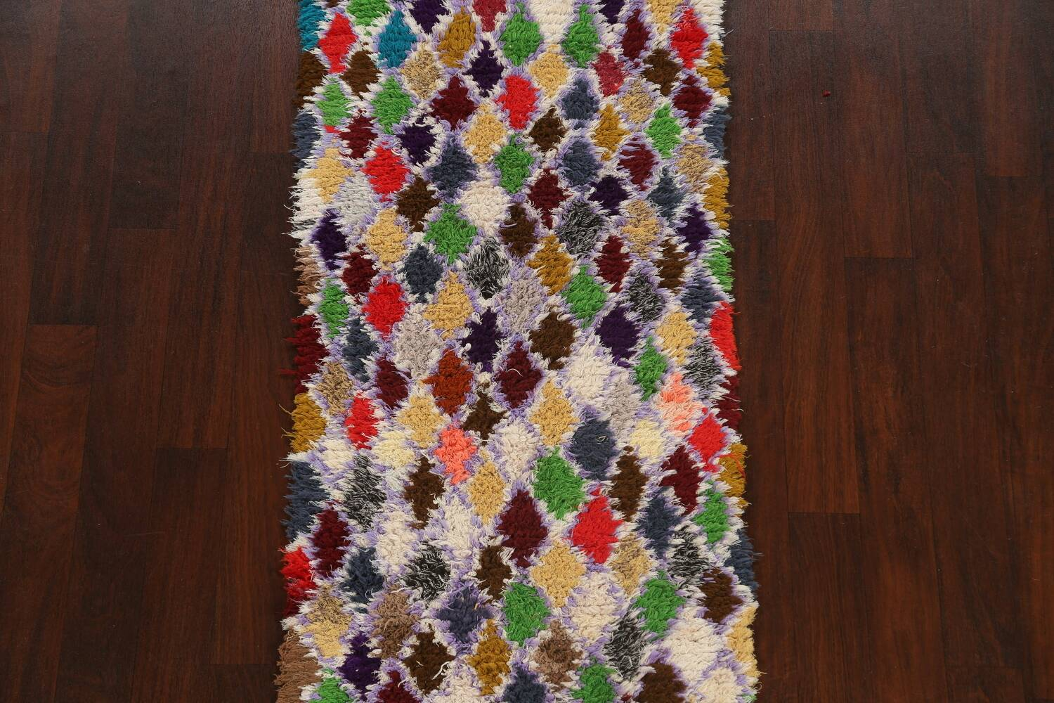 All-Over Checkered Moroccan Oriental Runner Rug 3x9 image 3