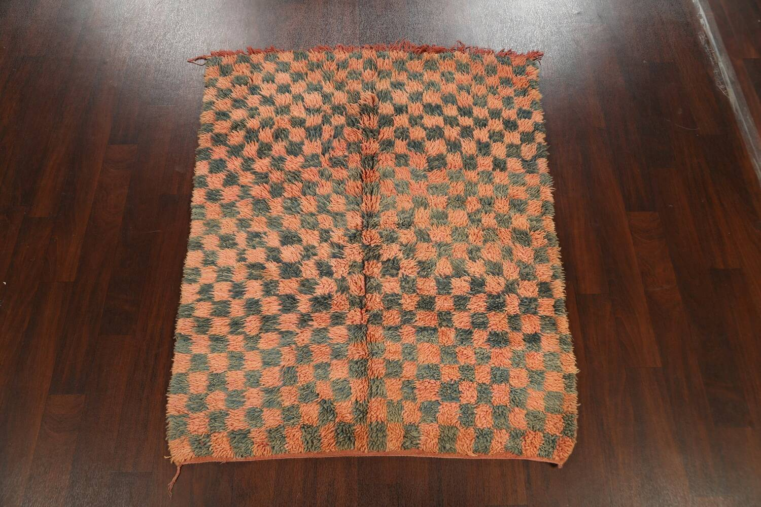 Checkered Tribal Moroccan Oriental Area Rug 4x6 image 2