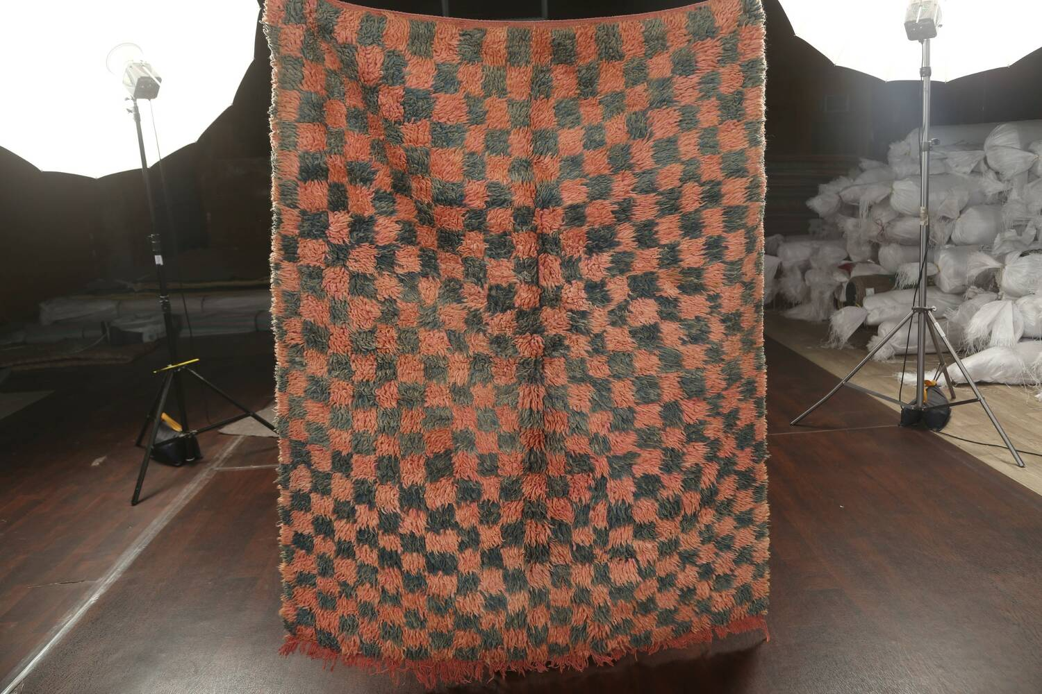 Checkered Tribal Moroccan Oriental Area Rug 4x6 image 9