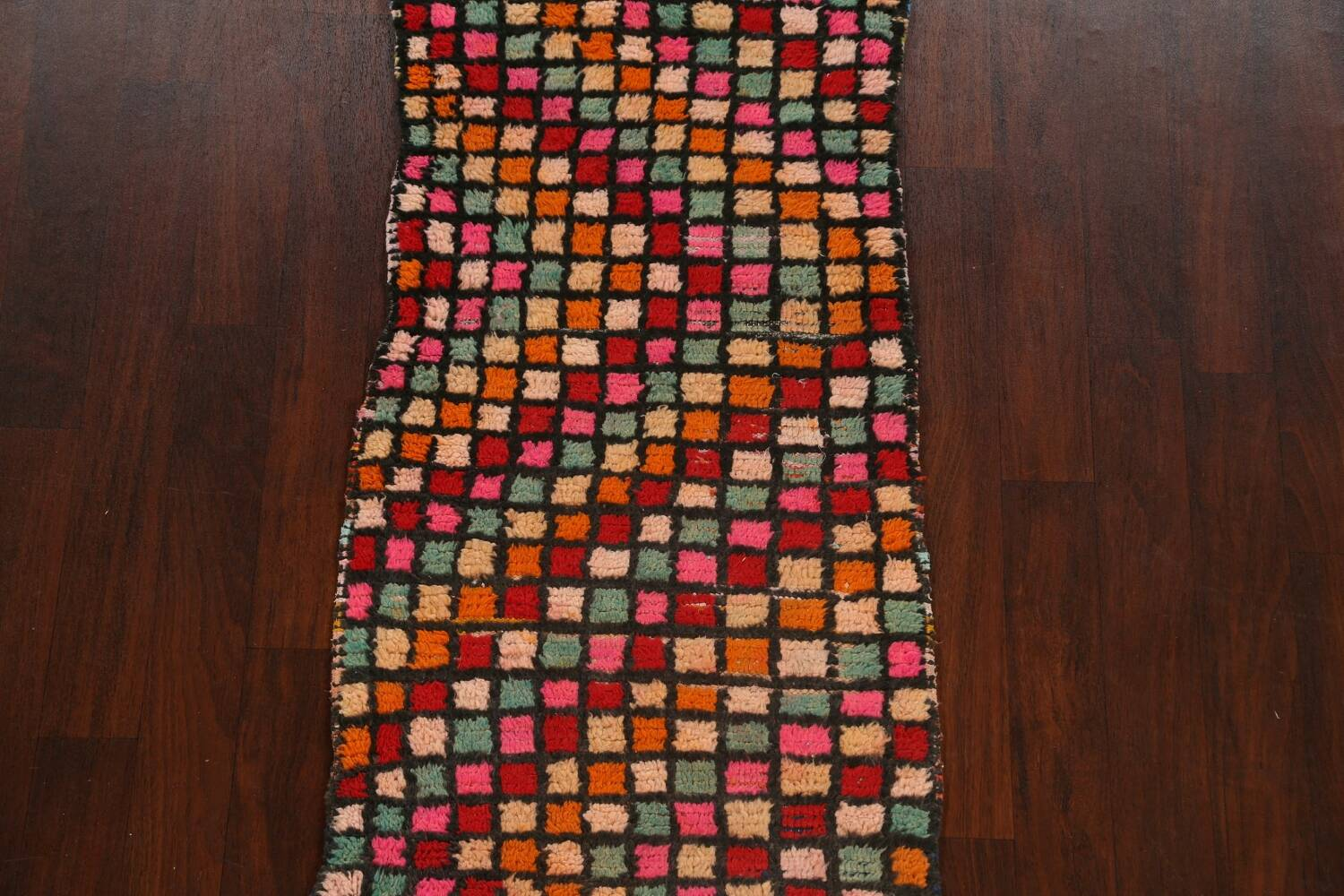 All-Over Checkered Moroccan Oriental Runner Rug 2x10 image 3