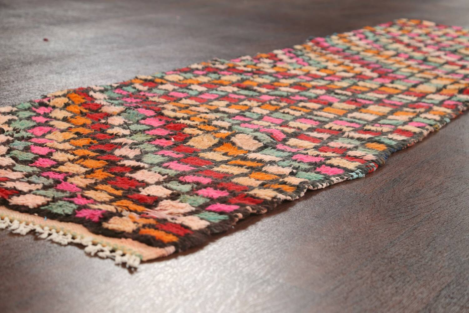 All-Over Checkered Moroccan Oriental Runner Rug 2x10 image 6