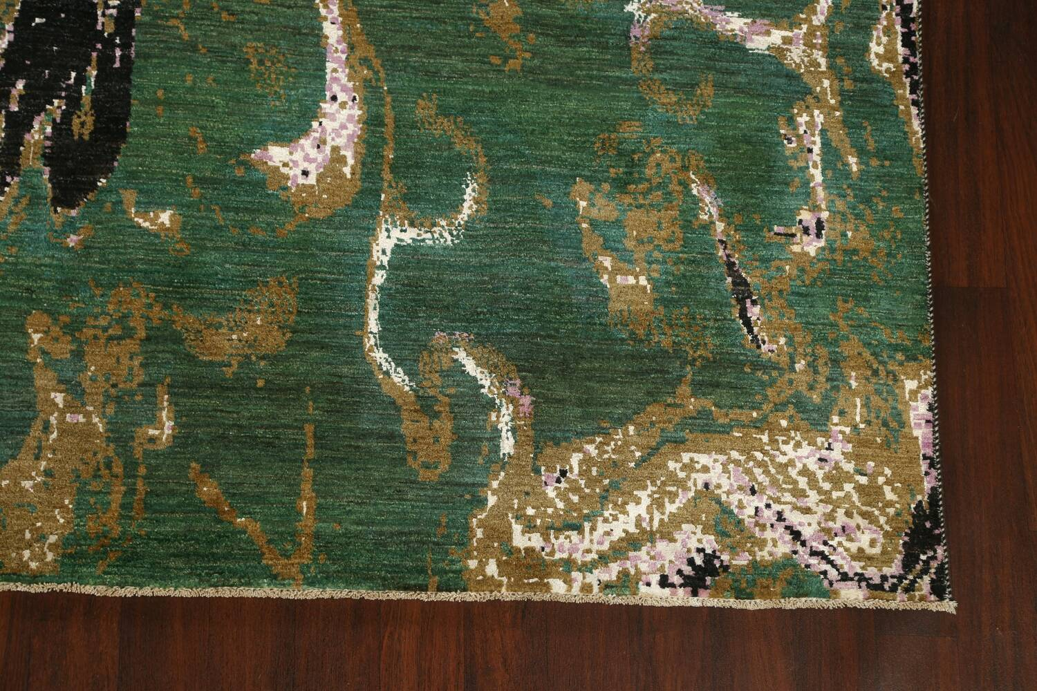 Vegetable Dye Contemporary Abstract Oriental Area Rug 9x12 image 5