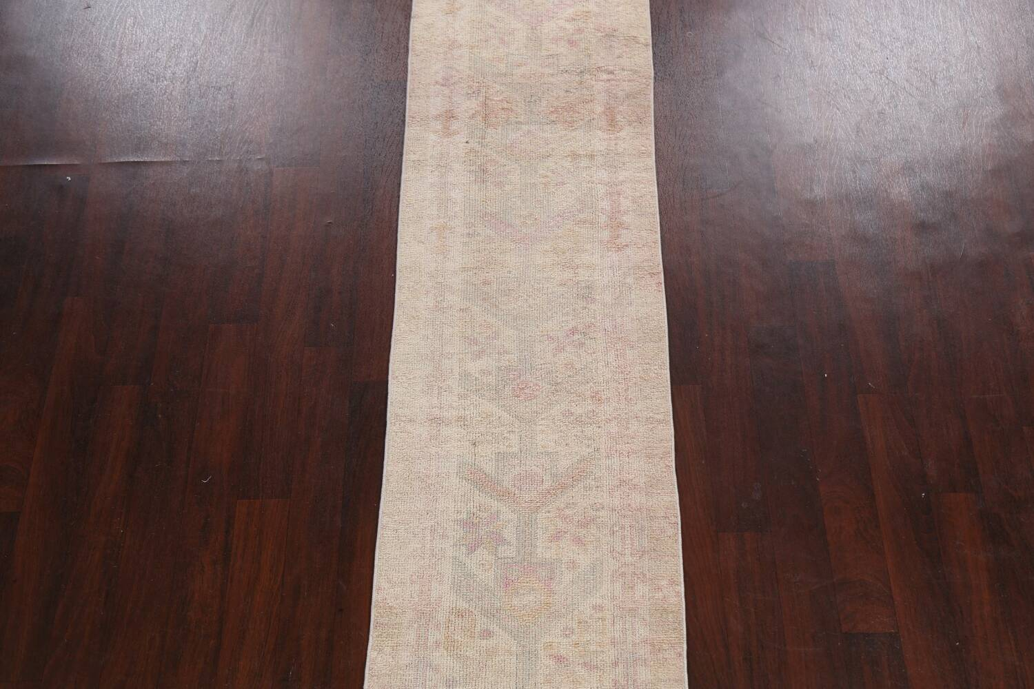 Muted Geometric Oushak Oriental Runner Rug 2x13 image 3