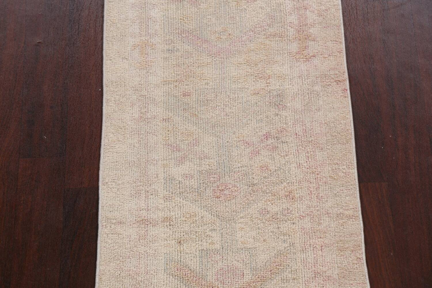 Muted Geometric Oushak Oriental Runner Rug 2x13 image 4