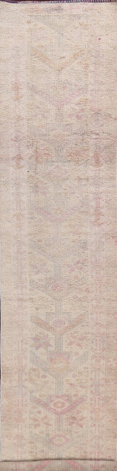 Muted Geometric Oushak Oriental Runner Rug 2x13 image 1