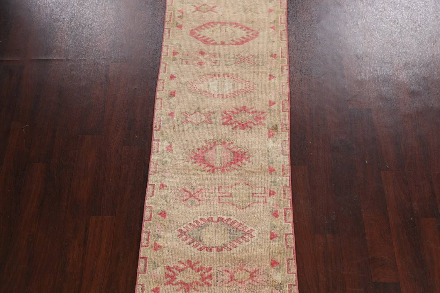 Muted Geometric Oushak Oriental Runner Rug 3x13 image 3