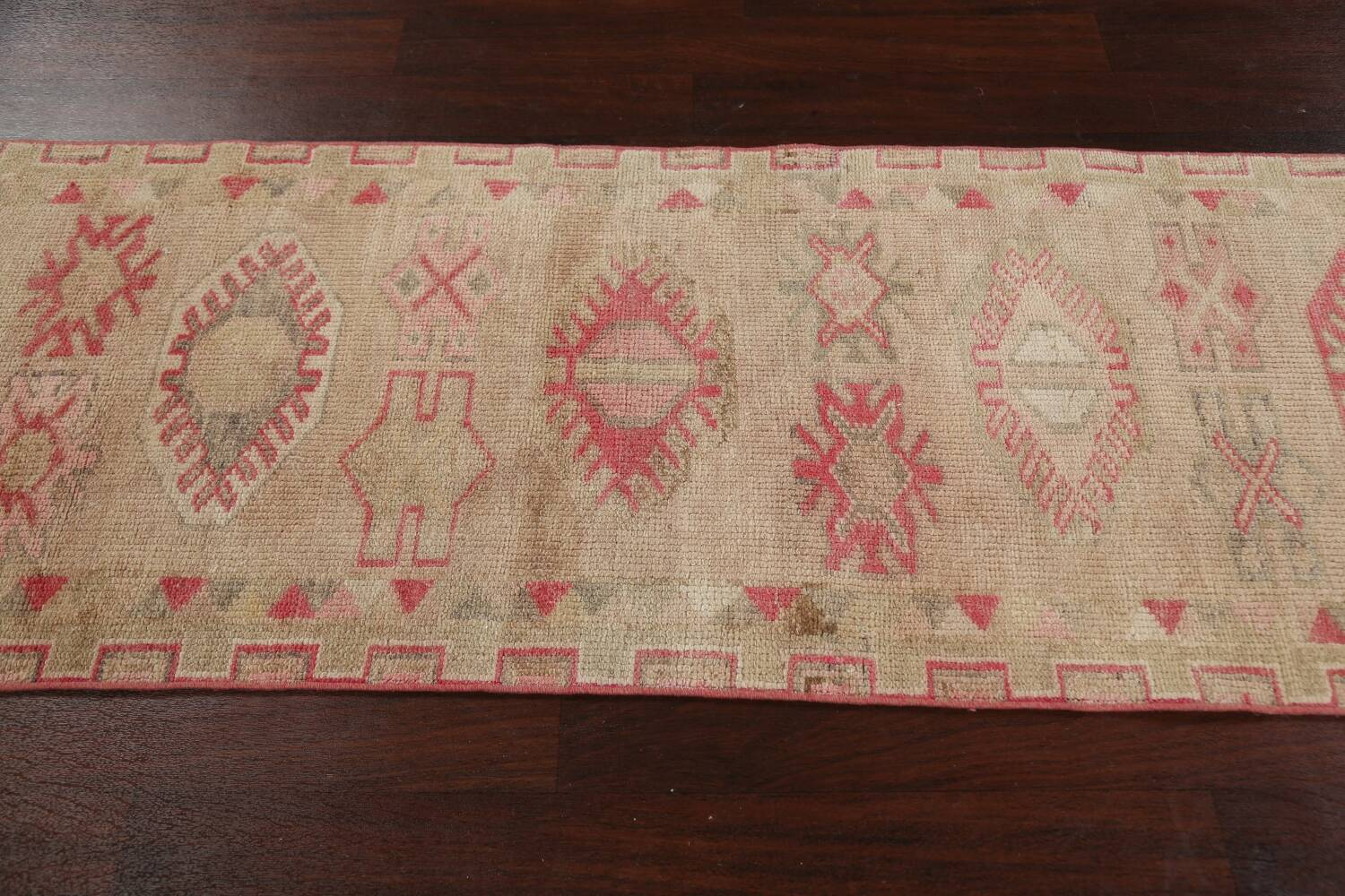 Muted Geometric Oushak Oriental Runner Rug 3x13 image 14