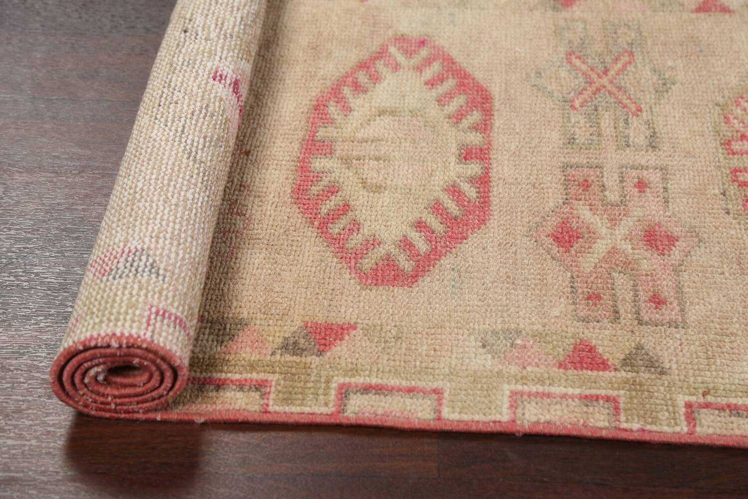 Muted Geometric Oushak Oriental Runner Rug 3x13 image 16