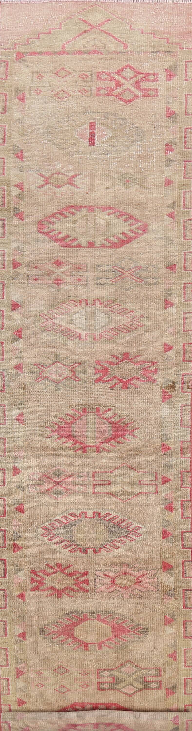 Muted Geometric Oushak Oriental Runner Rug 3x13 image 1