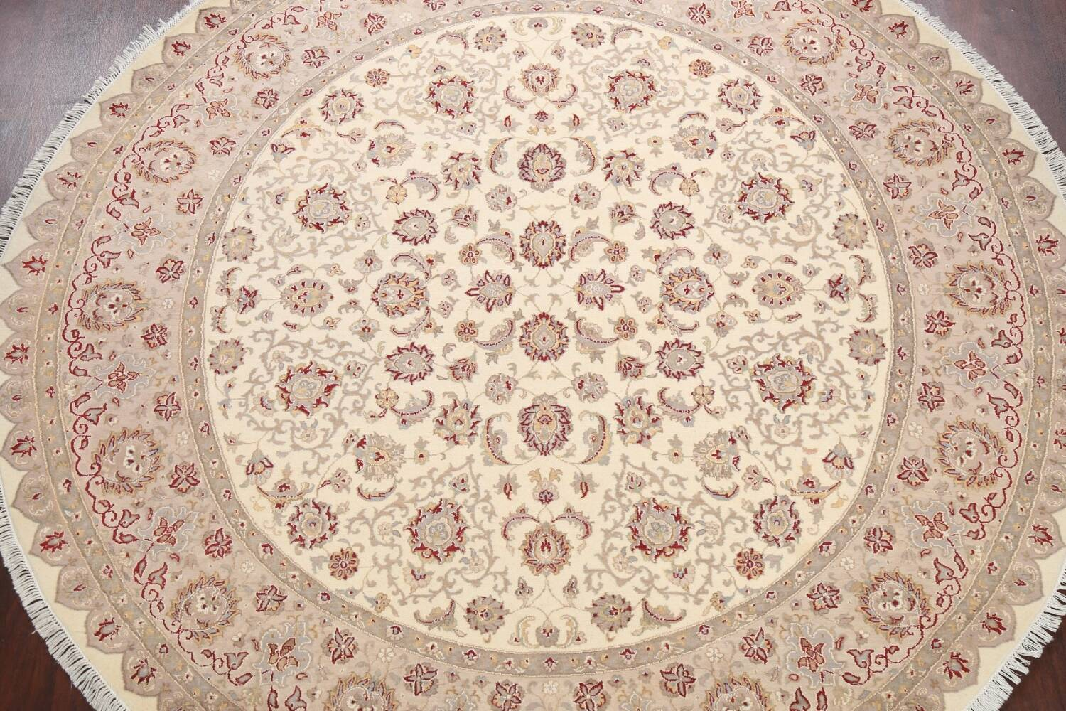 Vegetable Dye Royal-Tabriz Oriental Area Rug 9x9 Round image 3