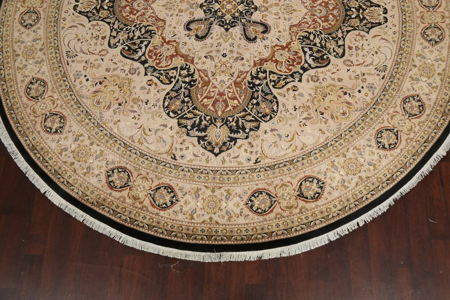 Vegetable Dye Royal-Tabriz Oriental Area Rug 12x12 Round image 5