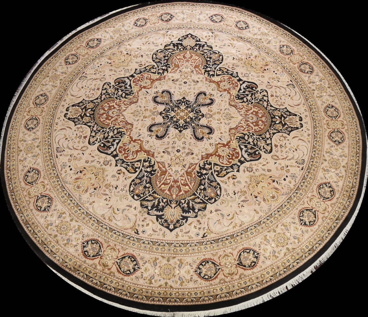 Vegetable Dye Royal-Tabriz Oriental Area Rug 12x12 Round image 1