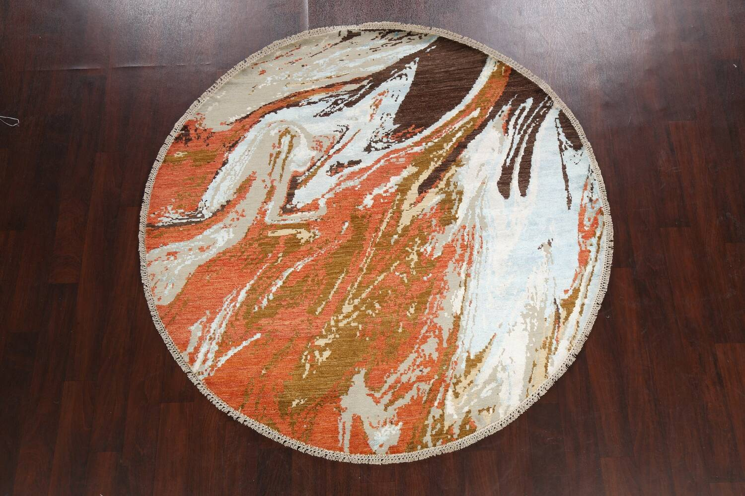 Vegetable Dye Contemporary Round Abstract Oriental Area Rug 6x6 image 2