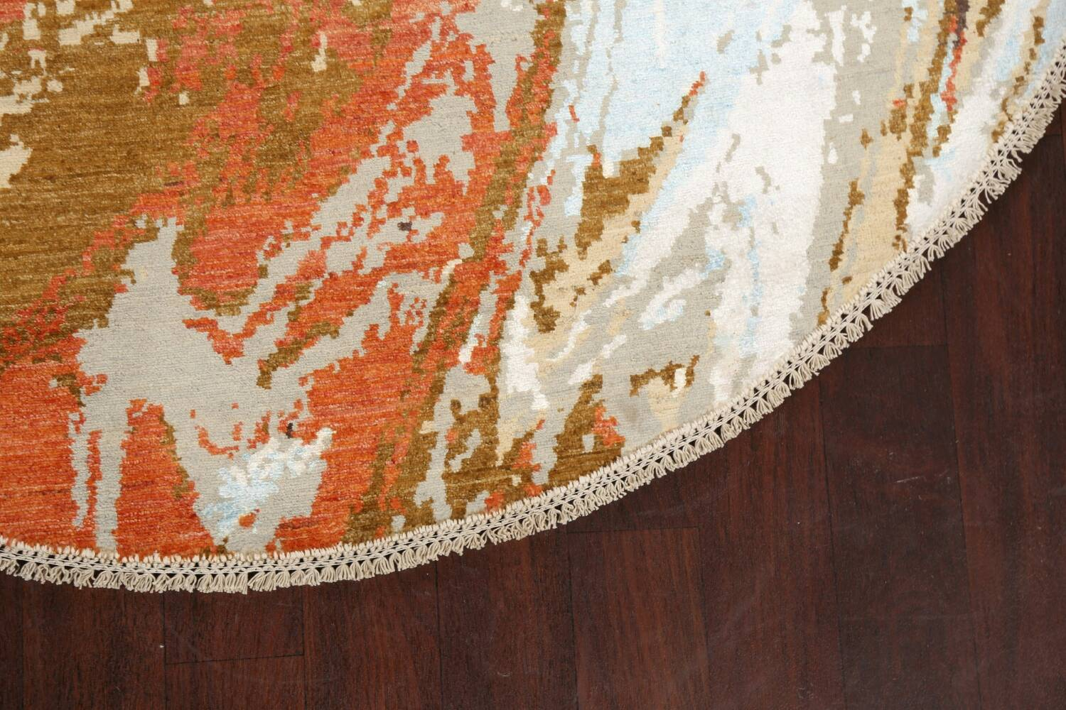 Vegetable Dye Contemporary Round Abstract Oriental Area Rug 6x6 image 6