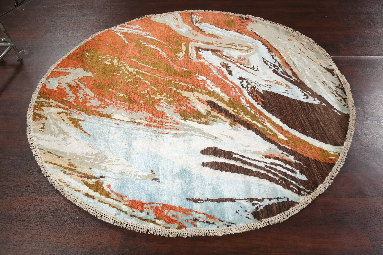 Vegetable Dye Contemporary Round Abstract Oriental Area Rug 6x6 image 10