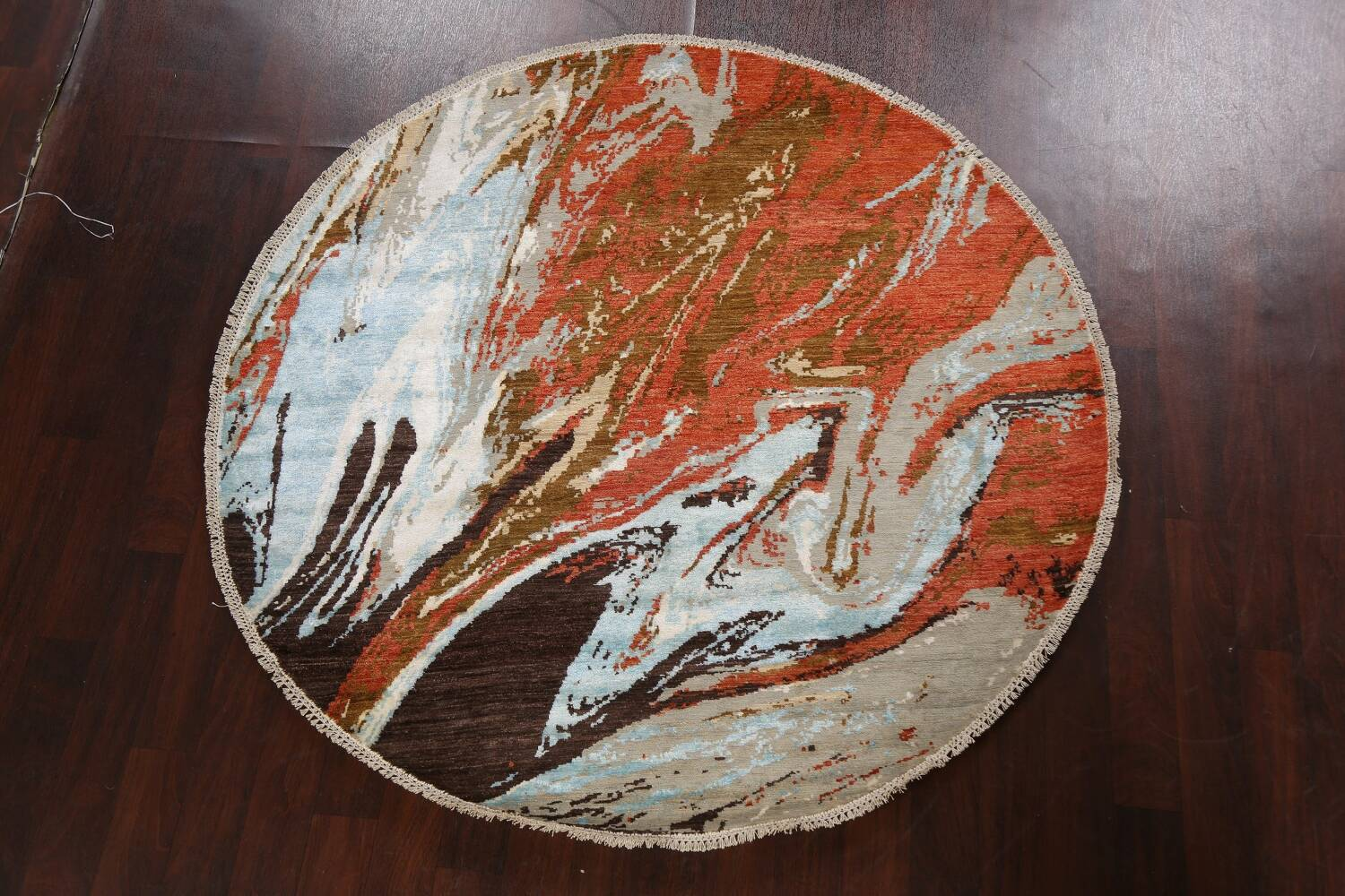 Vegetable Dye Contemporary Round Abstract Oriental Area Rug 6x6 image 11